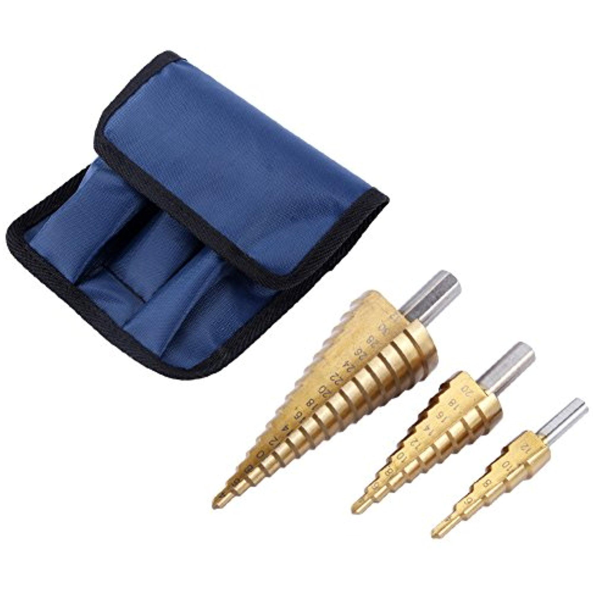 3 Pcs Large HSS Steel Step Cone Drill Titanium Bit Set Hole 4-12//20//32mm dint