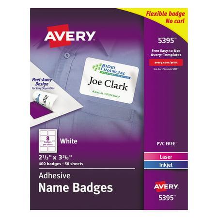 Avery Flexible Self Adhesive Laser Inkjet Name Badge Labels  2 1 3 X 3 3 8  We  400 Bx