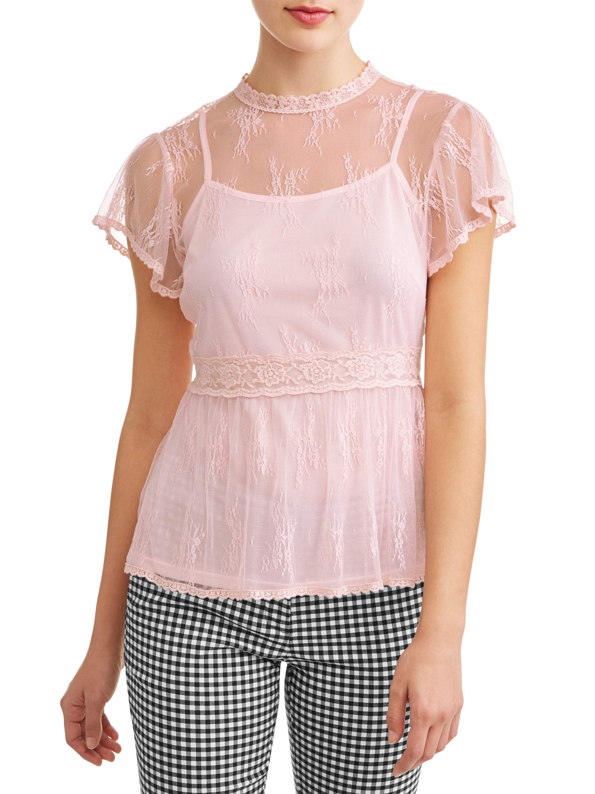 Juniors' All Over Lace Mock Neck Flutter Sleeve Blouse