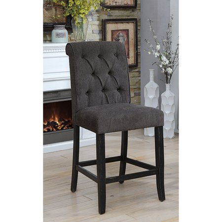 Furniture of America Verona Contemporary Chenille Counter Height Chair - Set of 2