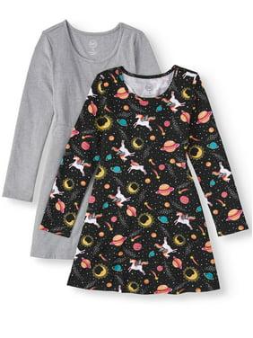 Wonder Nation Long Sleeve Play Dresses (Little Girls, Big Girls, Big Girls Plus)