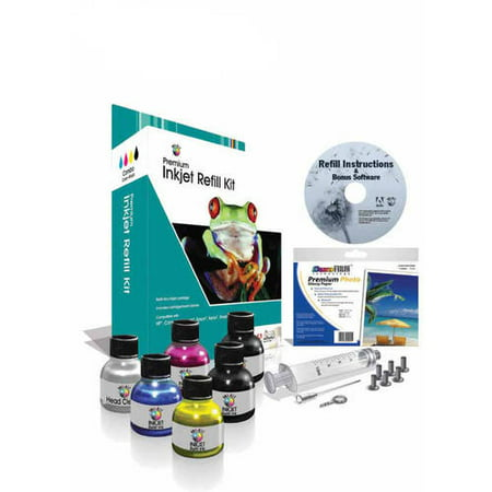 Universal Inkjet Ink Refill Kit, 4-Color, Black, Color