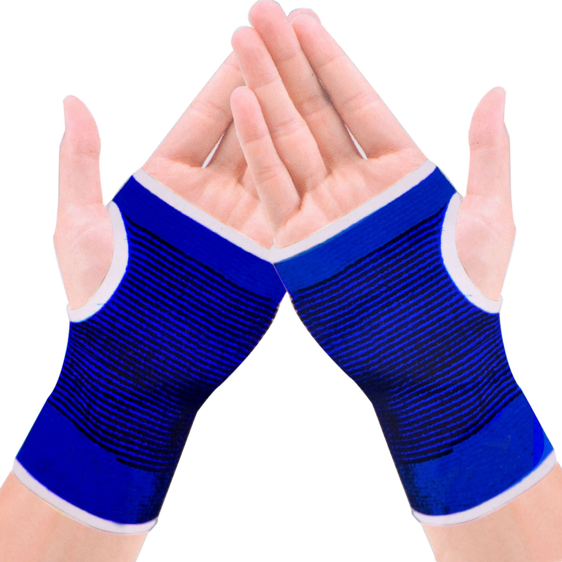 Unique Bargains Lady Blue Black Striped Stretchy Knitting Thumbhole Wrist Warmer Gloves