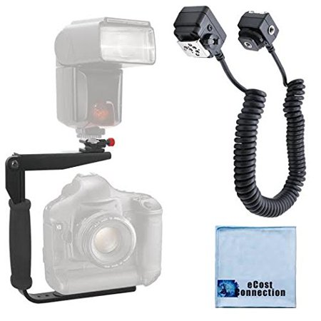 180 Degree Quick Flip rotating Flash Bracket & Heavy Duty Off-Camera Flash Cord that Stretches to 3 Feet for Nikon Cameras + eCostConnection Microfiber Cloth