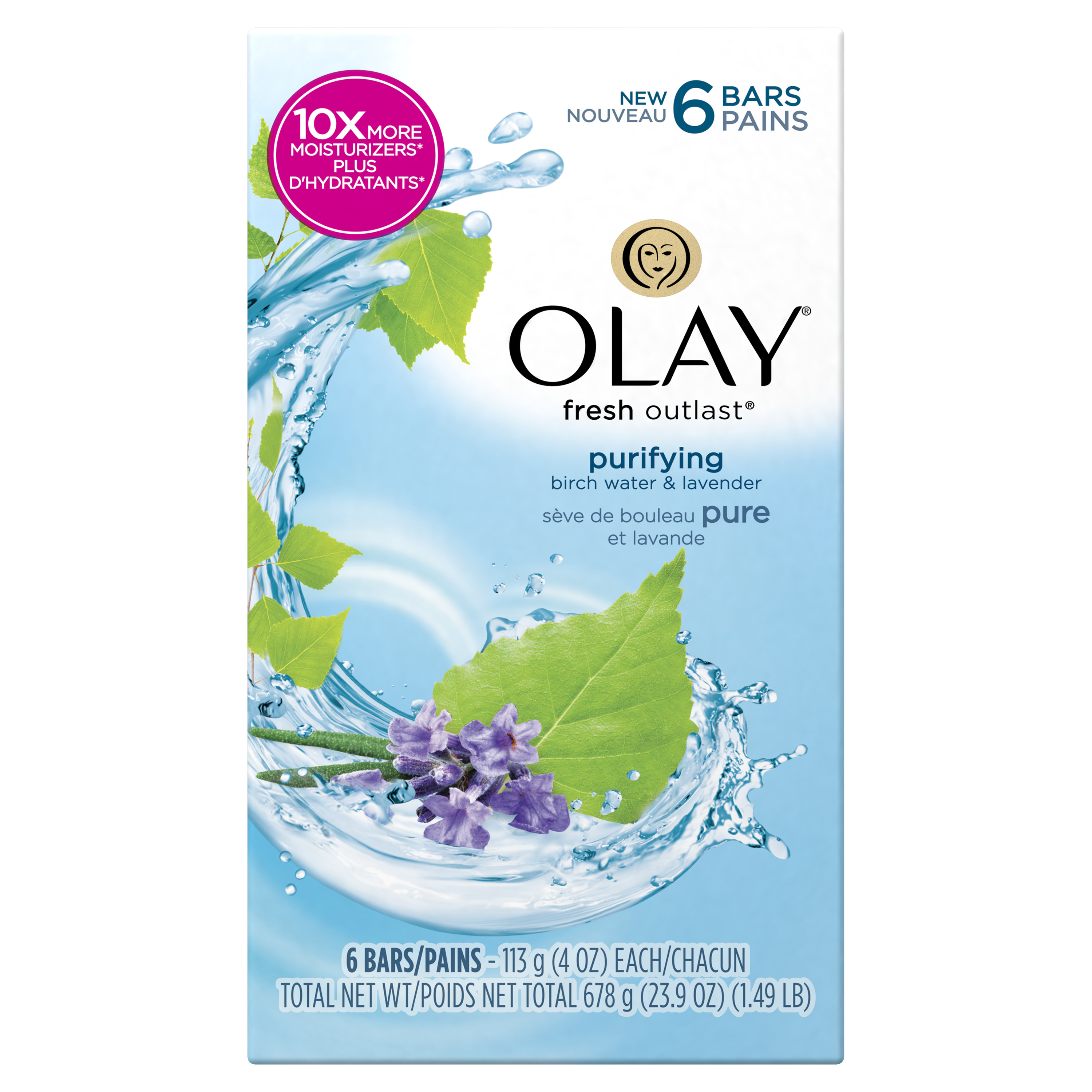 Olay Fresh Outlast Purifying Birch Water & Lavender Beauty Bar 4 oz, 6 count