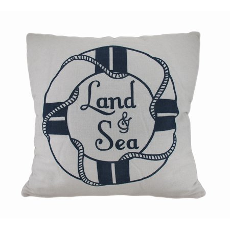 Land and Sea White and Blue Life Preserver Decorative Throw Pillow 16in.