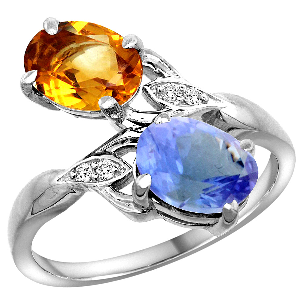 14k White Gold Diamond Natural Citrine & Tanzanite 2-stone Ring Oval 8x6mm, size 5 by Gabriella Gold