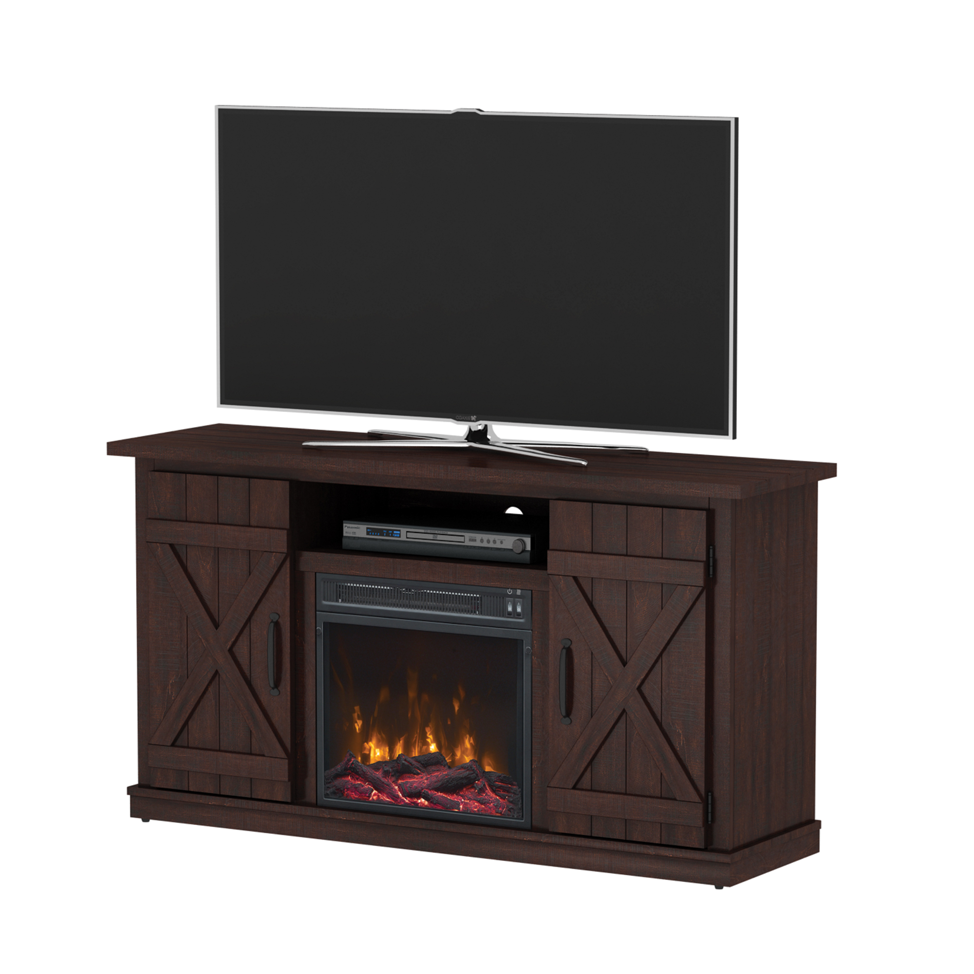 "Terryville Saw Cut Espresso Fireplace Tv Stand For T Vs Up To 55"" by Luxe By Tsi"