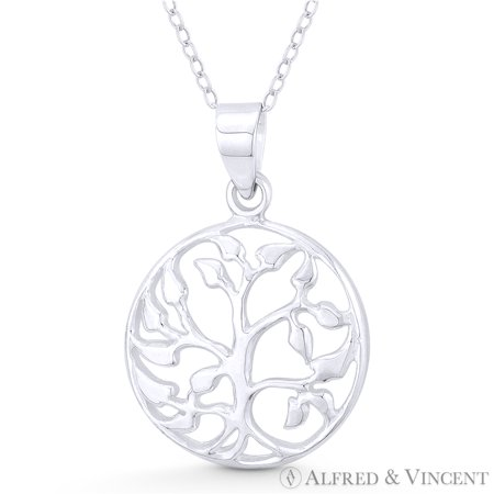 Leaf Design Circle Pendant (Vine w/ Leaf Tree Circle Charm Plantlife Pendant in .925 Sterling Silver )