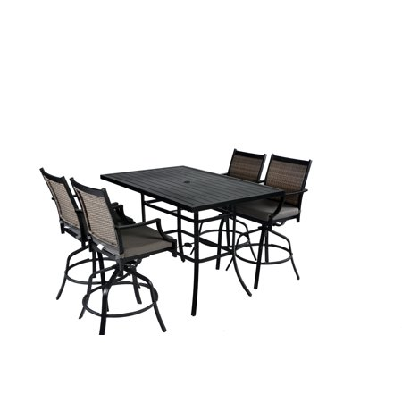 5pc Aluminum & Wicker Swivel  Cushioned Slat Top Patio Pub Bar Height Dining Set with Umbrella Hole- Black/Grey