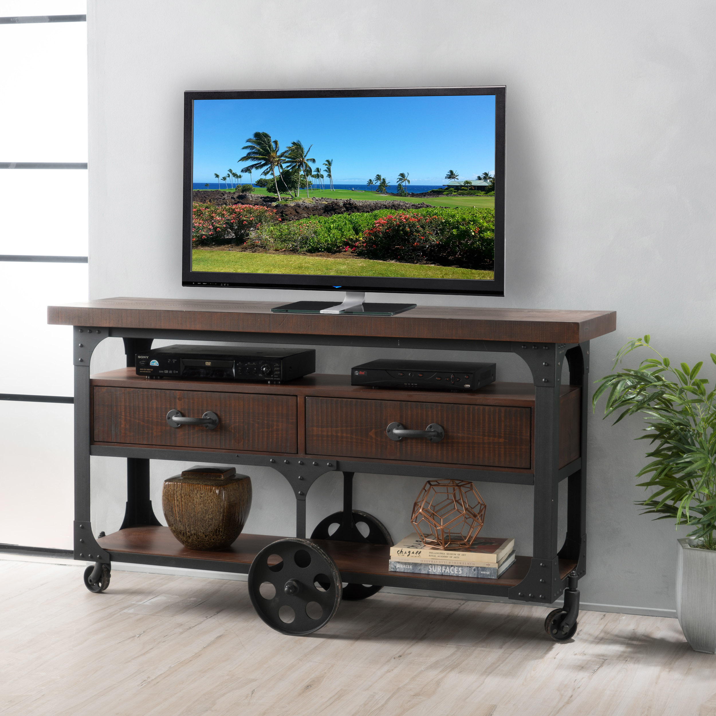 Noble House Cason Faux Wood Overlay TV Console with Drawers, Dark Brown