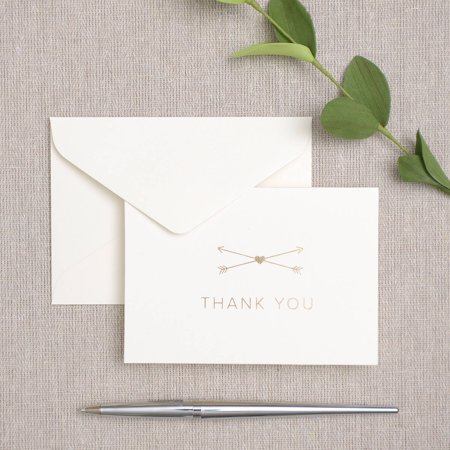 Gold Foil Heart And Arrow Thank You Cards