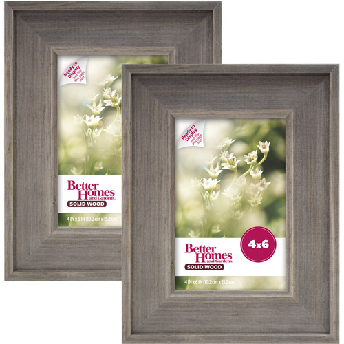 Better Homes and Gardens 4x6 Rustic Wood Picture Frame, 2pk