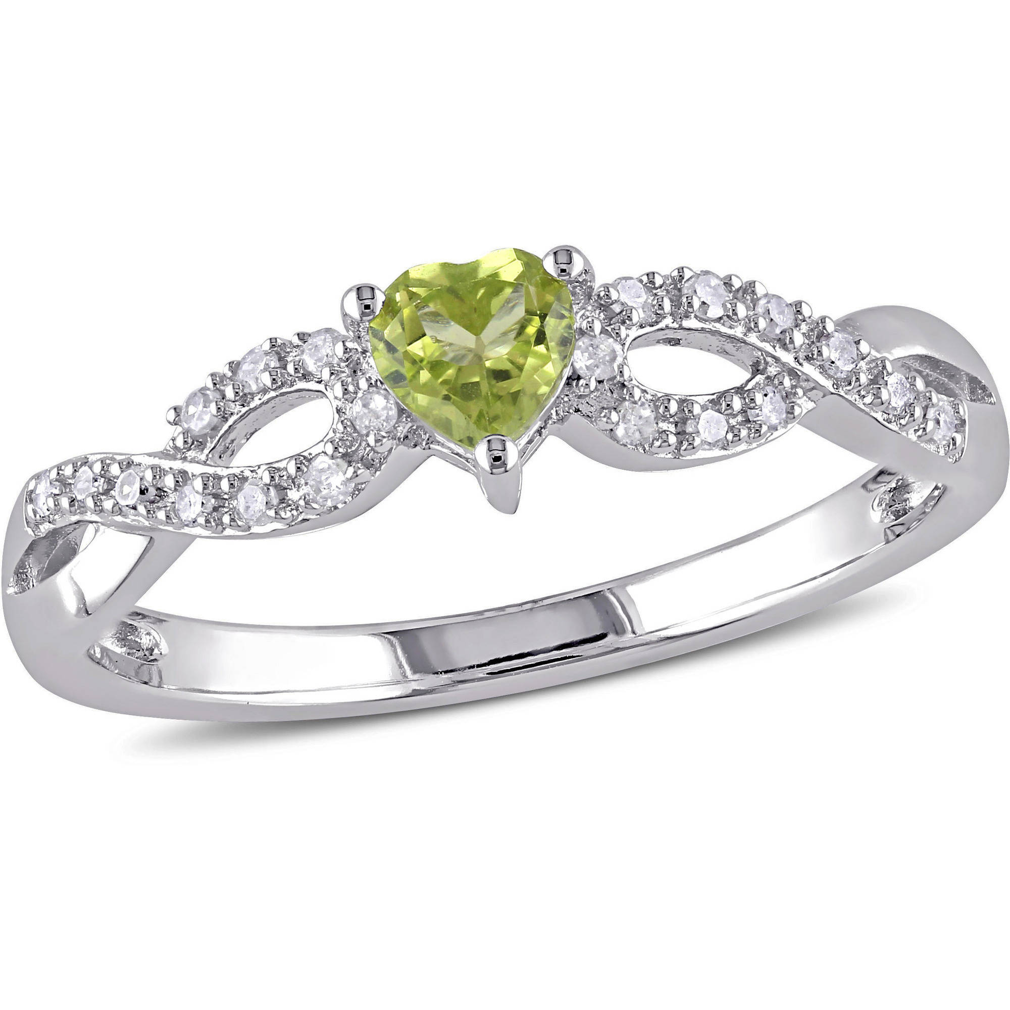 Tangelo 1 3 Carat T.G.W. Peridot and 1 10 Carat T.W. Diamond Sterling Silver Heart Infinity Ring by Delmar Manufacturing LLC