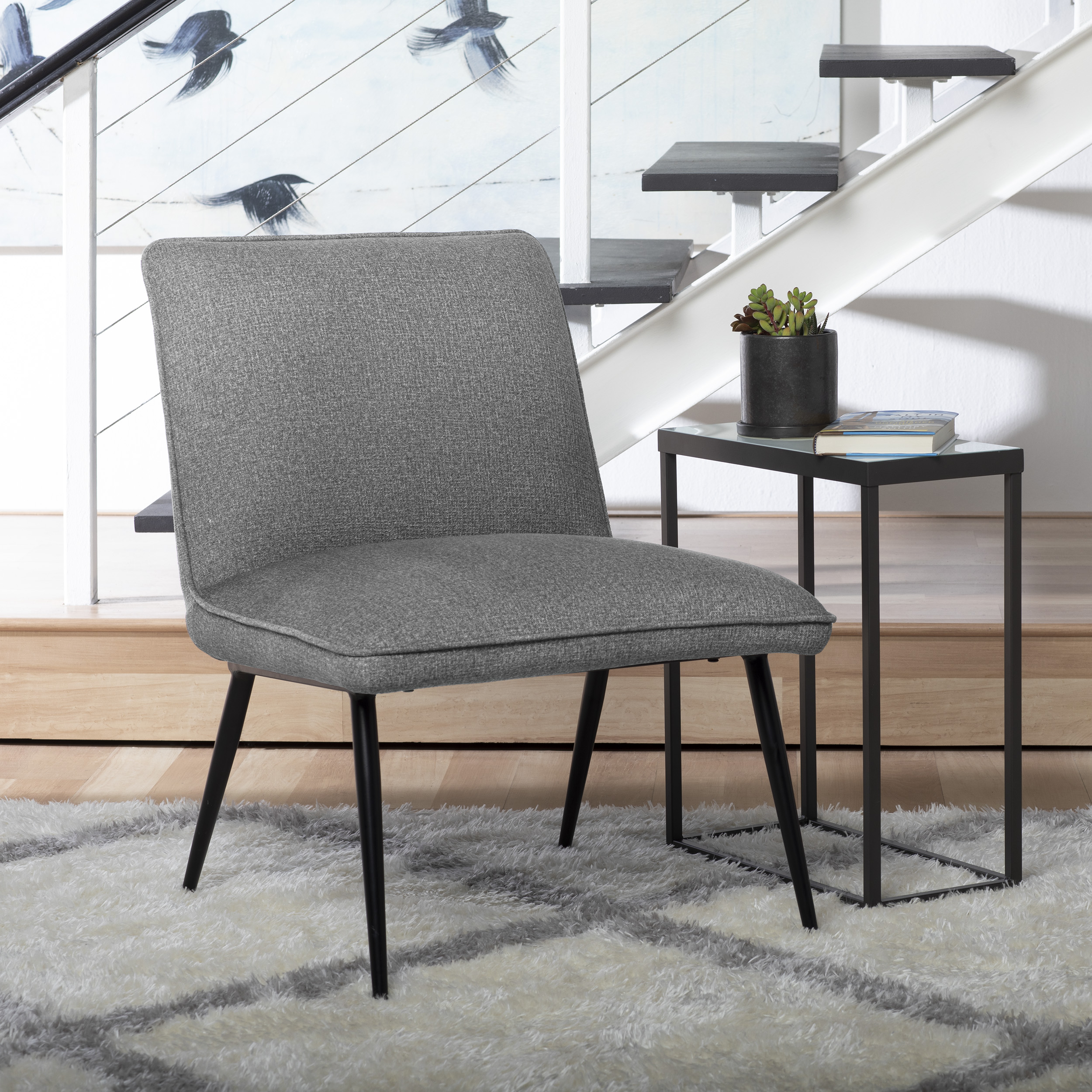 Picture of: Studio Designs Home Niche Armless Slipper Bedroom Accent Chair With Black Metal Legs And Dark Grey Fabric Walmart Com Walmart Com