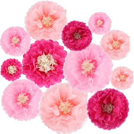 Basics Paper Flowers (Gejoy 12 Pieces Paper Flower Tissue Paper Chrysanth Flowers Diy Crafting for Wedding Backdrop Nursery Wall Decoration)