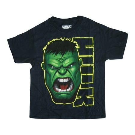 Marvel Boys Navy Hulk Face Graphic Print Short Sleeve T-Shirt](Navy Blue Suits For Boys)