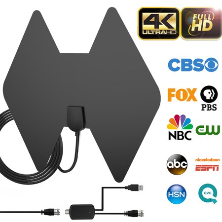 2019 Upgraded Indoor Amplified HD Digital TV Antenna, Ultra HDTV Antenna 80-100 Miles Range for VHF UHF 4K 1080P Local Channels w/ Detachable Amplifier Signal Booster & Coaxial Cable Support All