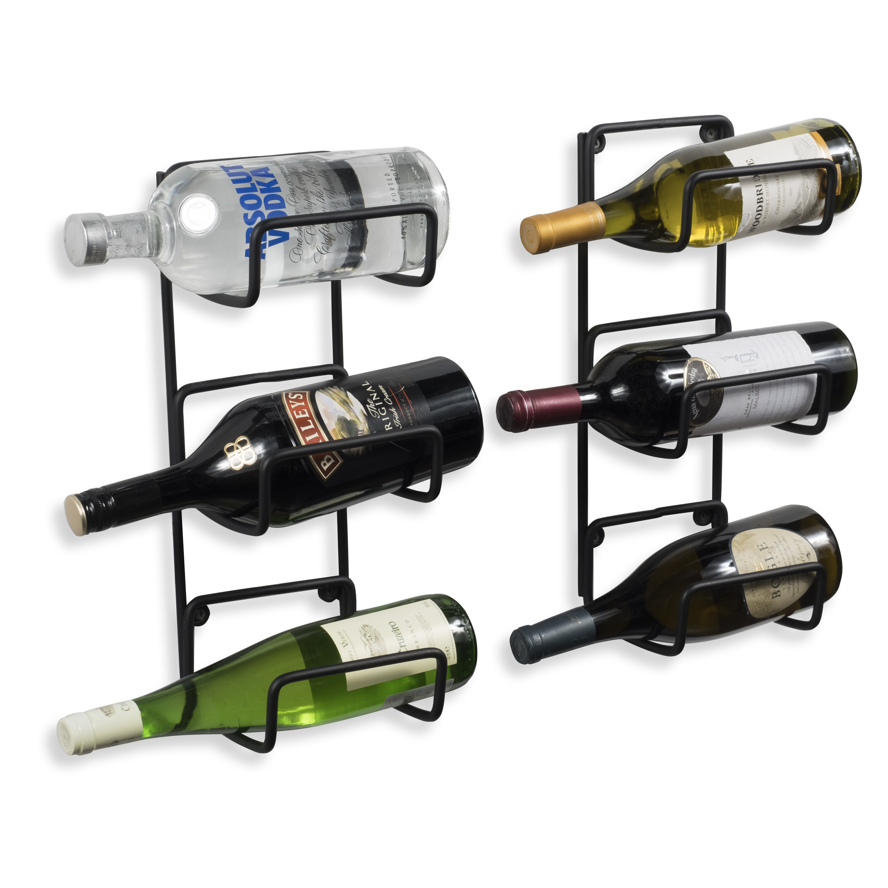 Wrought Iron Wall Mountable Wine Rack Versatile For Storing Bulky Liquor Bottles Set Of 2 In Black