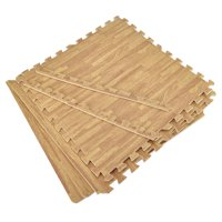 "Aspire 240 SQFT 60 Tiles 24"" EVA Foam Protective Floor Mats Borders Included Wood Grain Exercise Mat"