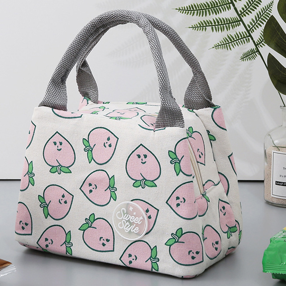 Tuscom For Women Kids Men Insulated Canvas Box Tote Bag Thermal Cooler Food Lunch Bags