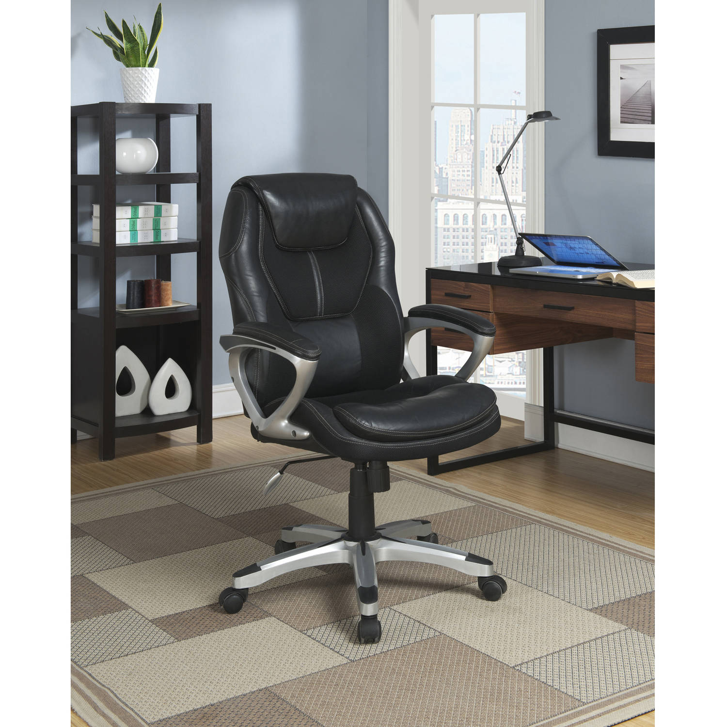 serta executive office chair puresoft faux leather with mesh black