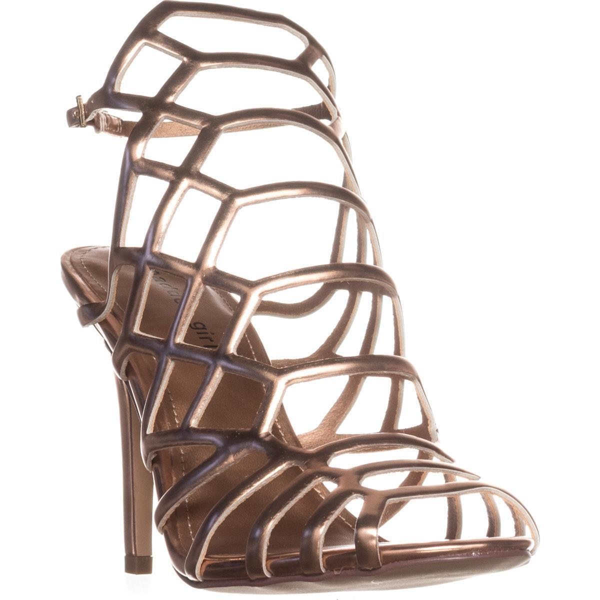 Womens madden girl Directt Caged Ankle Strap Sandals, Rose Gold, 6 US