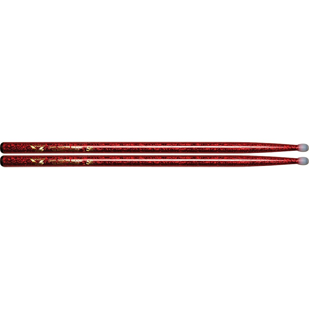 Vater Colorwrap Nylon Tip Sticks Pair Red Sparkle 5B by Vater