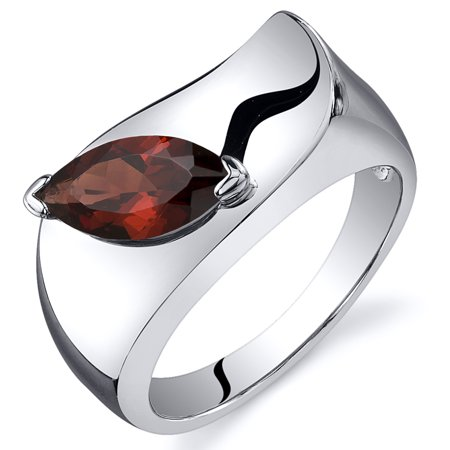 1.25 Ct Garnet Engagement Ring in Rhodium-Plated Sterling Silver
