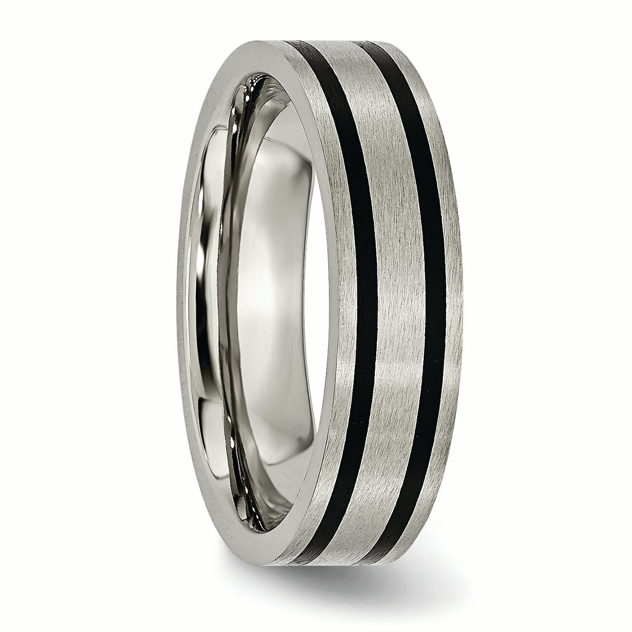 Titanium Brushed Enameled Flat 6mm Wedding Ring Band Size 7.00 Fashion Jewelry Gifts For Women For Her - image 5 de 6
