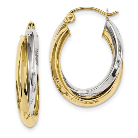 10k Two Tone Yellow Gold Double Oval Hoop Earrings Ear Hoops Set
