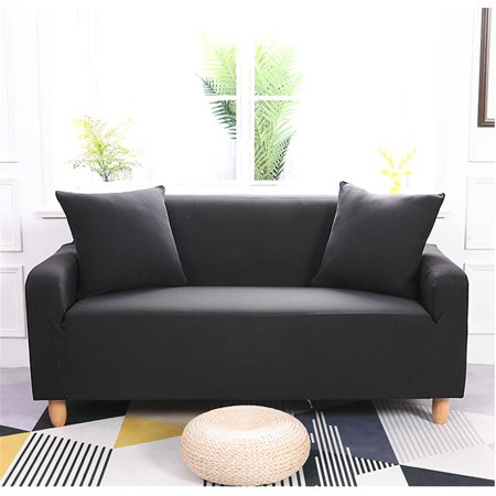 Hilitand 4 Seater Slipcover Antiskid Spandex Stretch Sofa Cover,Solid Pure  Colour Elastic Couch Stretch Sofa Cover(Black)