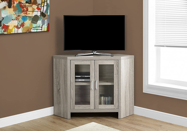"I Corner with Glass Doors TV Stand, 42"", Dark Taupe - Walmart.com"