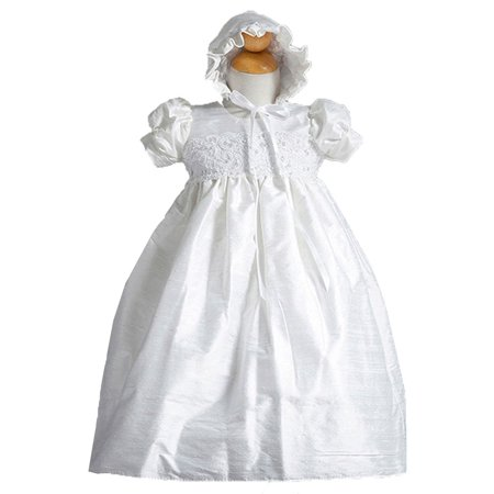 Crayon Kids Baby Girls White Silk Embroidery Christening Bonnet Gown 0-3M (Christening Gowns For Sale)