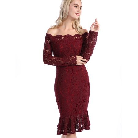CHICIRIS Women s Vintage Off Shoulder Floral Lace Slim Cocktail Pencil  Dress Women Formal Mermaid Dress Lace Ruffle Hem Dress Female Party Dress 4af95984d