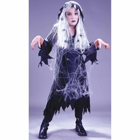 Spider Web Gauze Ghost Child Halloween Costume - Spider Web Eyes Halloween Makeup