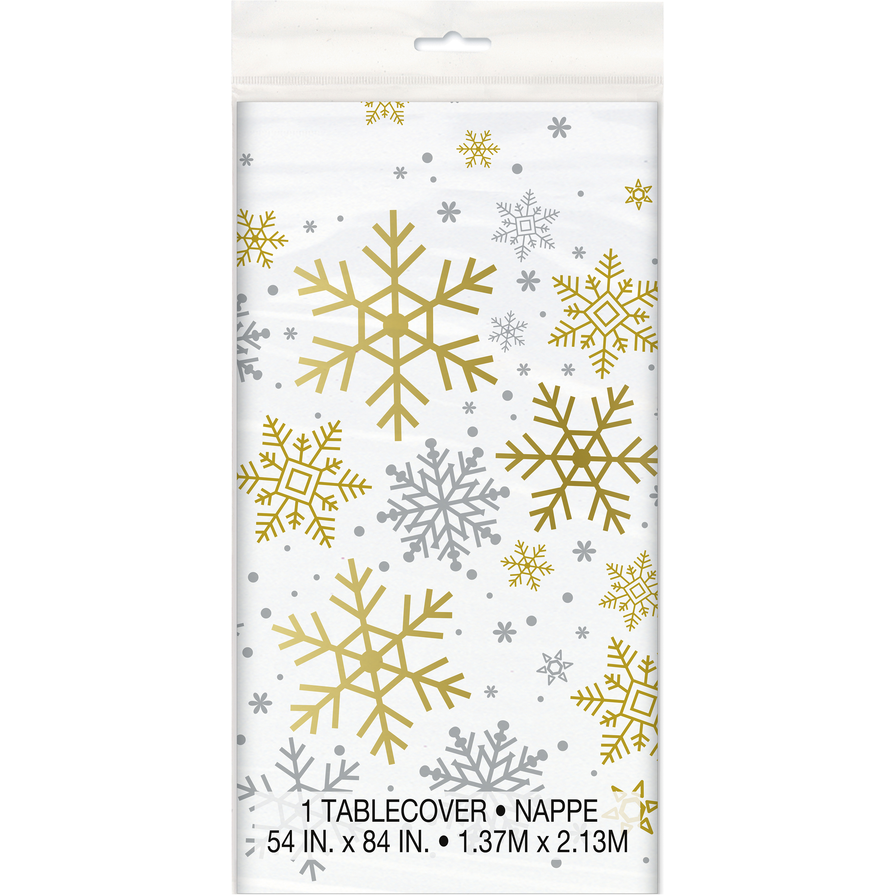 Silver & Gold Snowflakes Holiday Plastic Tablecloth, 84 x 54 in, 1ct