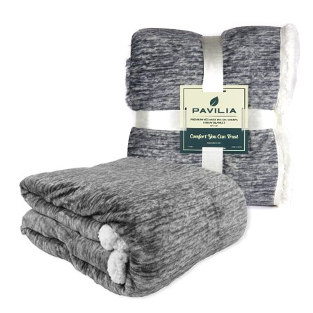 Premium Melange Sherpa Throw Blanket By Pavilia   Charcoal  50X60