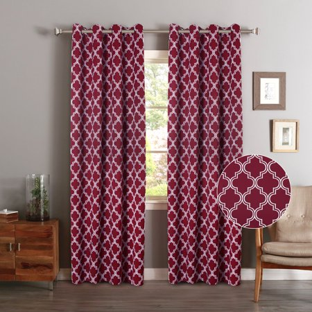 Unlined Set - FlamingoP Room Darkening Moroccan Tile Quatrefoil Blackout Top Grommet Unlined Thermal Insulated Window Curtains, Set of Two Panels, each 84 by 52, Cardinal
