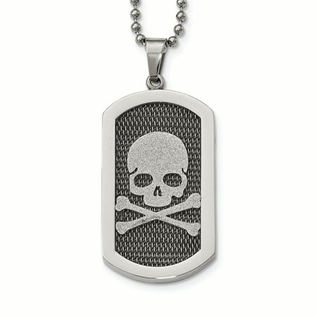 Stainless Steel Polished and Brushed Laser Cut Skull & Bones Necklace 24in - image 1 de 4