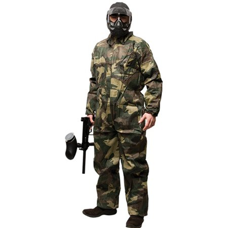 Paintball Pants Liquid (Disposable Paintball Coveralls / Jumpsuit - Camo - Small )
