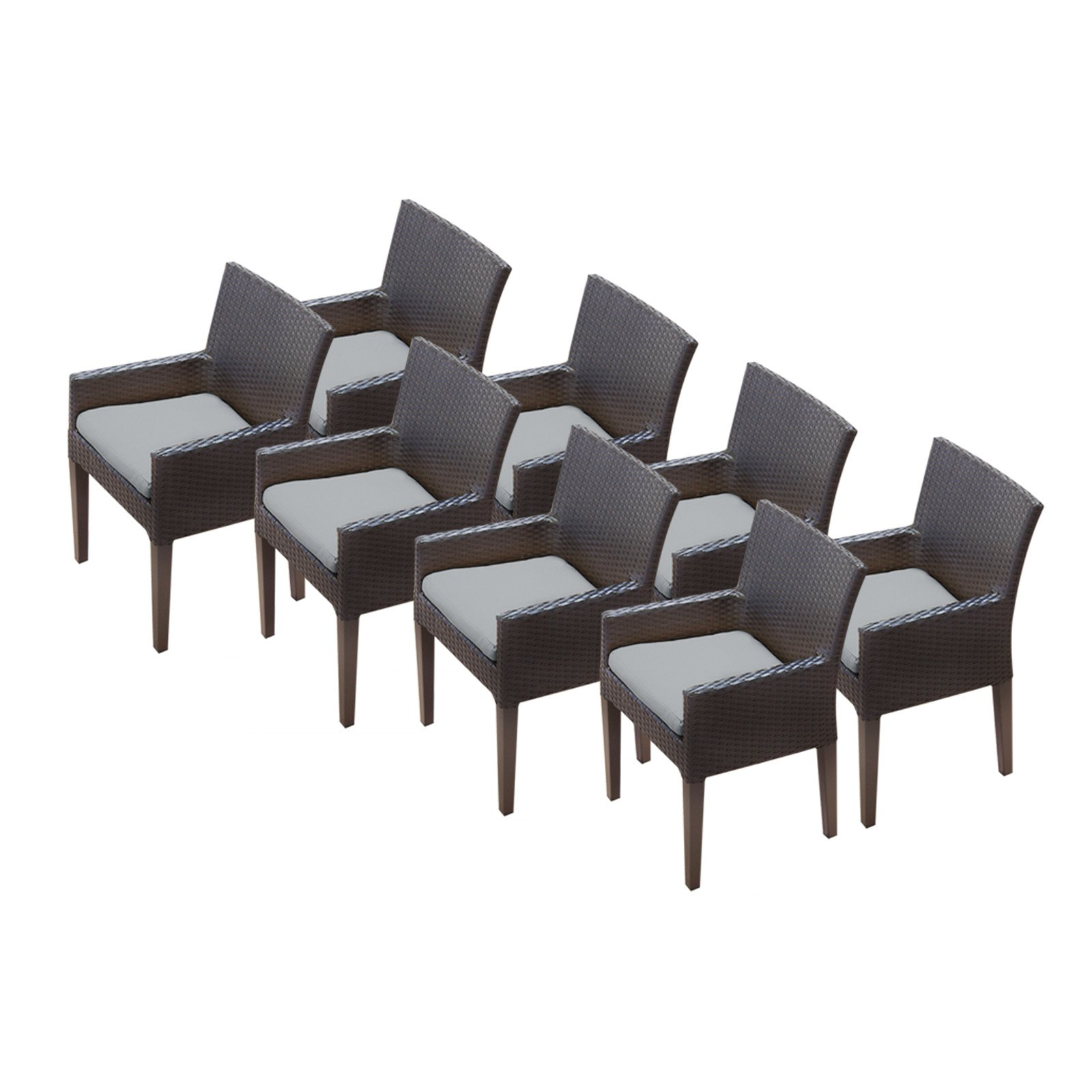 TK Classics Napa Outdoor Dining Chair - Set of 8 with 16 Cushion Covers