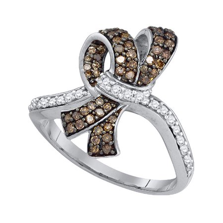 10kt White Gold Womens Round Brown Color Enhanced Diamond Knot Bow Ring 1/2 Cttw - image 1 of 1
