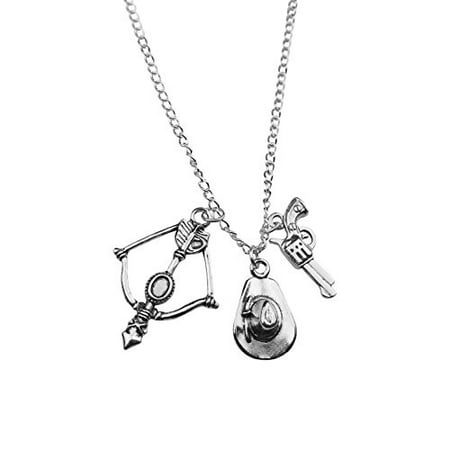 Art Attack Silvertone Zombie Hunter Killer Crossbow Arrow Cowboy Hat Gun Revolver Apocalypse Pendant Necklace