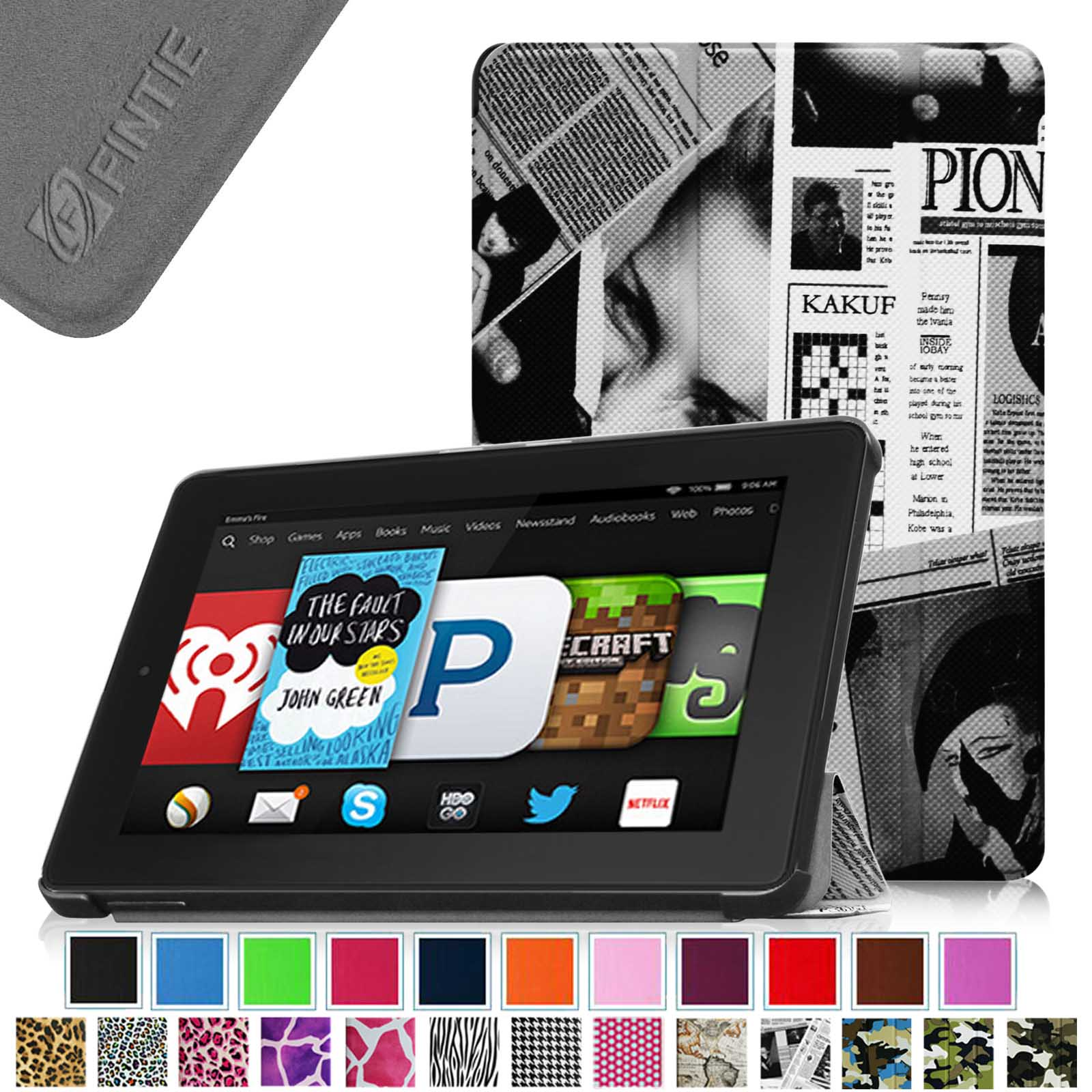 Fintie Kindle Fire HD 6 Tablet (2014 Oct Release) SmartShell Case - Slim Stand Cover with Sleep/Wake, Newspaper