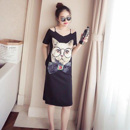 Summer Women Cartoon Cat Pattern Off Shoulder T-shirt Dress black M ()