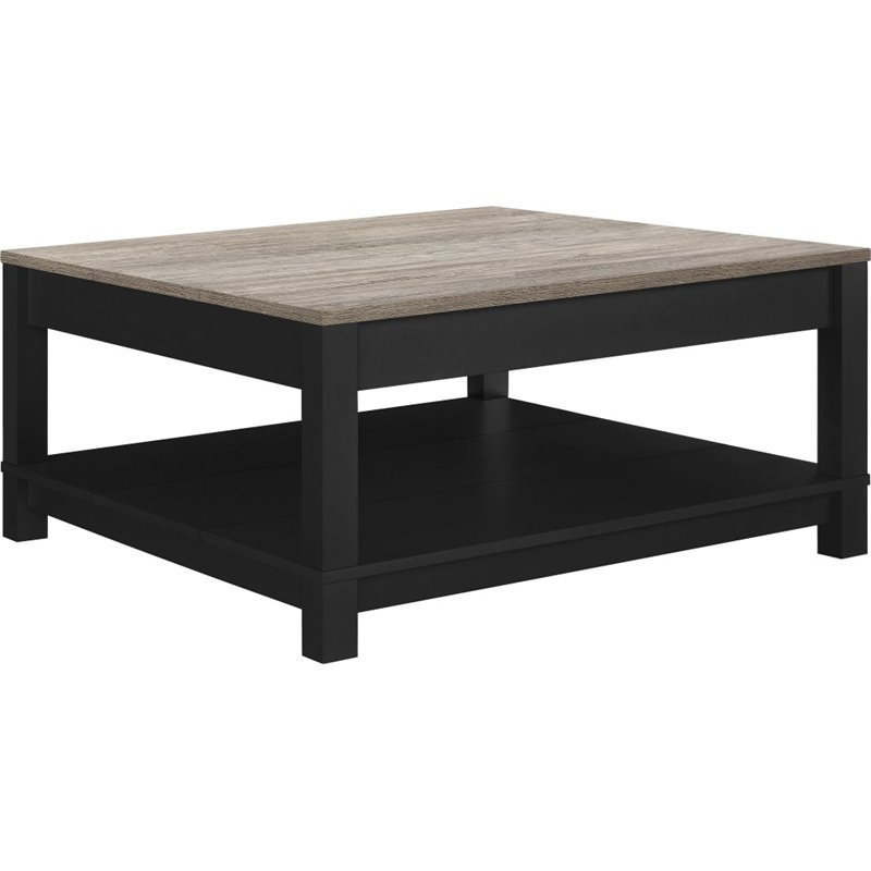 Altra Furniture Carver Square Coffee Table in Black and Sonoma Oak by Ameriwood Home