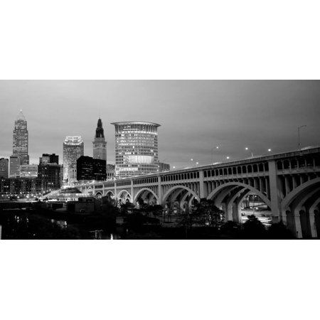 Bridge in a City Lit Up at Dusk, Detroit Avenue Bridge, Cleveland, Ohio, USA Black and White Photo Print Wall Art By Panoramic Images](Party City In Ohio)