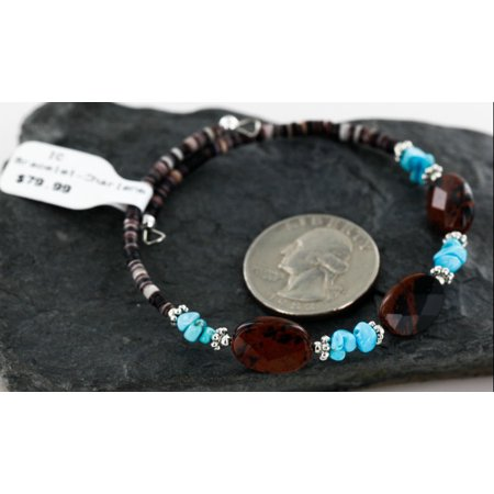 80 Retail Tag Authentic Made by Charlene Little Navajo beauty Turquoise and Carnelian Native American WRAP Bracelet