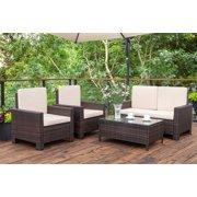 Walnew 4 Pieces Outdoor Patio Furniture Sets Rattan Chair Wicker Conversation Sofa Set, Outdoor Indoor Backyard Porch Garden Poolside Balcony Use Furniture (Beige)